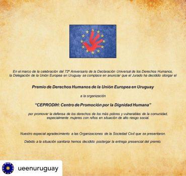 Premio de Derechos Humanos de la Unión Europea en Uruguay